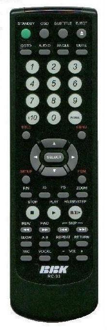 BBK RC-33 (DVD player) (BBK-2001, BBK-963S, BBK-969S, DV939S)